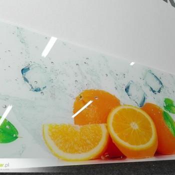 Panele szklane z nadrukiem pomarańczy - druk UV bezpośrednio na szkle