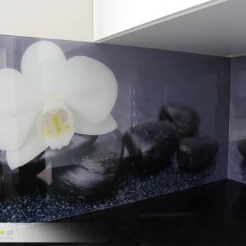 wydruki na szkle do kuchni biała orchidea