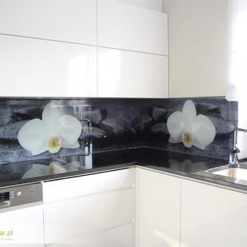 wizualizacja, druk, montaż. Panel szklany do kuchni biała orchidea