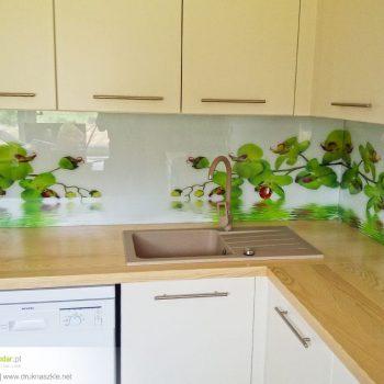 Panele szklane z nadrukiem - wzór zielony storczyk