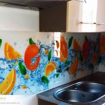Panele szklane z nadrukiem - wzór pomarańcze