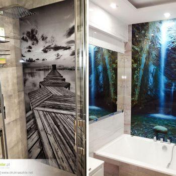Szkło pod prysznic z nadrukiem